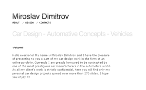 Flash website design and development for the automobile designer Miroslav Dimitrov
